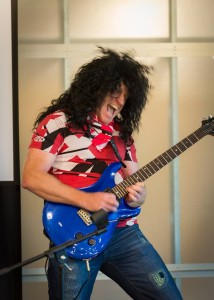 """Glenn Van Hendrix"" havin' some 80's fun and playing some smokin' riffs at the Windows Phone giving campaign event on Friday, raising over $4500 for Seattle Children's Hospital!"